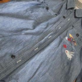(temp) ちきりや刺繍長袖shirt 釦脱落